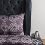 Weiche seidige elegante Luxus Hefel TENCEL® Lyocell Bettwäsche Kissenbezug Bettgarnitur Ringdessin purple, silver