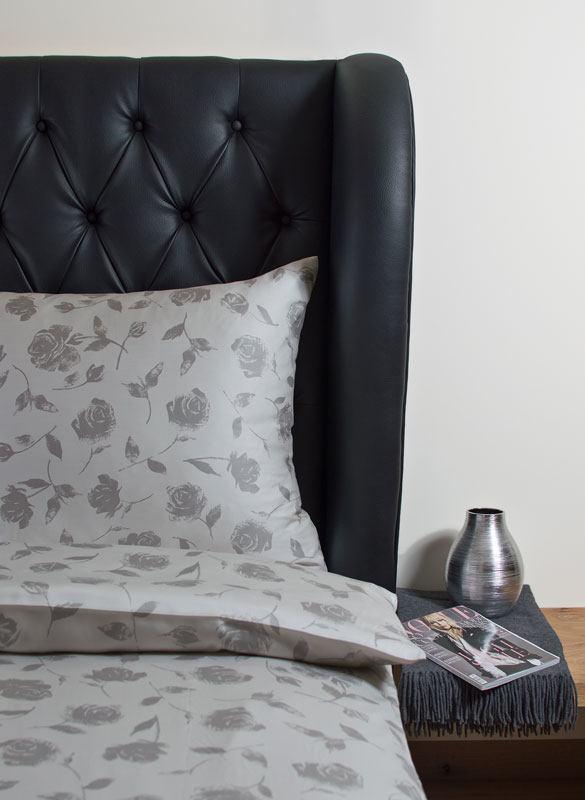 Weiche seidige elegante Luxus Hefel TENCEL® Lyocell Bettwäsche Tuchent Deckenbezug Kissenbezug Muster: Rose Dessin silber