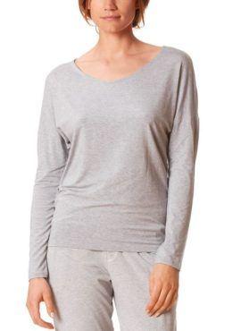 MEY Clara Homewear Shirt hellgrau-melange mit MicroModal® Vorderansicht