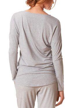 MEY Clara Homewear Shirt hellgrau-melange mit MicroModal® Rückansicht