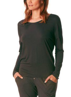 MEY Clara Homewear Shirt black-diamond mit MicroModal® Vorderansicht