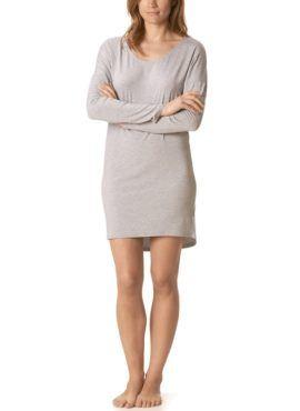 MEY Clara Homewear Bigshirt light grey melange mit MicroModal® Vorderansicht