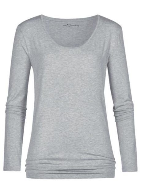 MEY Ariana long-sleeve Shirt Top light grey melange Damen mit dem hautsympathischen weichen Stoff aus feinster MicroModal® Holzfaser entfaltet auf Ihrer Haut ein besonderes Wohlempfinden.