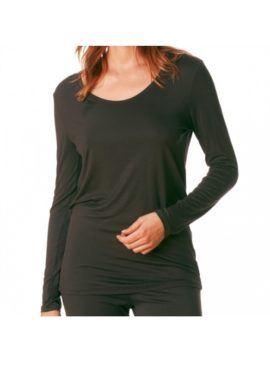 MEY Ariana long-sleeve Shirt Top black diamond Damen mit dem hautsympathischen weichen Stoff aus feinster MicroModal® Holzfaser entfaltet auf Ihrer Haut ein besonderes Wohlempfinden.