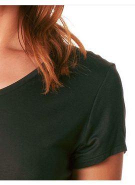 MEY Ariana short-sleeve shirt Top Damen new black diamond mit dem hautsympathischen weichen Stoff aus feinster MicroModal® Holzfaser entfaltet auf Ihrer Haut ein besonderes Wohlempfinden.