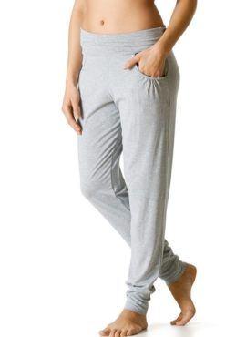 MEY Yogahose lang light grey melange aus LENZING™ Modal vorne