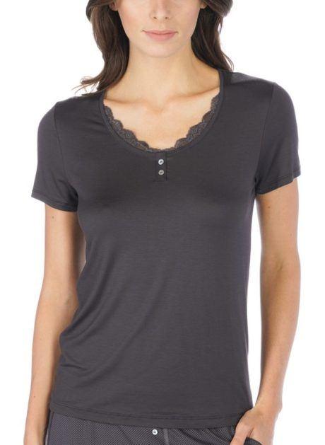 MEY Jana Homewear Shirt 1/2 Arm mit Rundhalsausschnitt mit dekorativer Spitze black diamond weichstes MicroModal® vorne