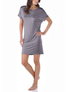 MEY Selina Nachthemd kurzarm MicroModal® 11933-420 shale Detail Hals vorne