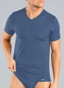 HUBER Tyson Kurzarm V-Shirt Lyocell blau