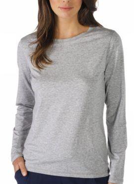 MEY Demi Shirt langarm Shirt grey melange Damen Modal Baumwolle Mix vorne