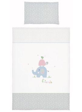 Friends rosa-grau Bebella Vital Baby Bettwäsche TENCEL™ / Lyocell